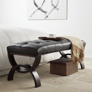 Wellington Dark Brown Faux Leather Arched Base Bench by INSPIRE Q