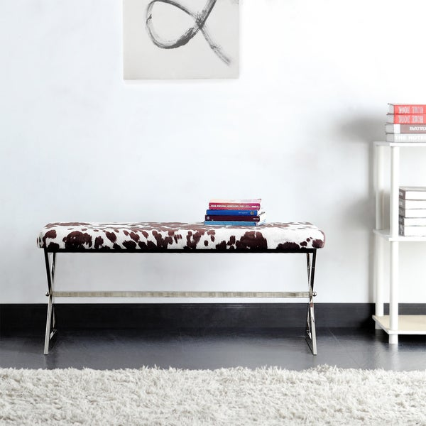 Southport Cowhide Print 40-inch Metal Bench by INSPIRE Q