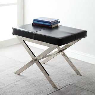 Southport Black Bonded Leather 22-inch Metal Stool by iNSPIRE Q Bold