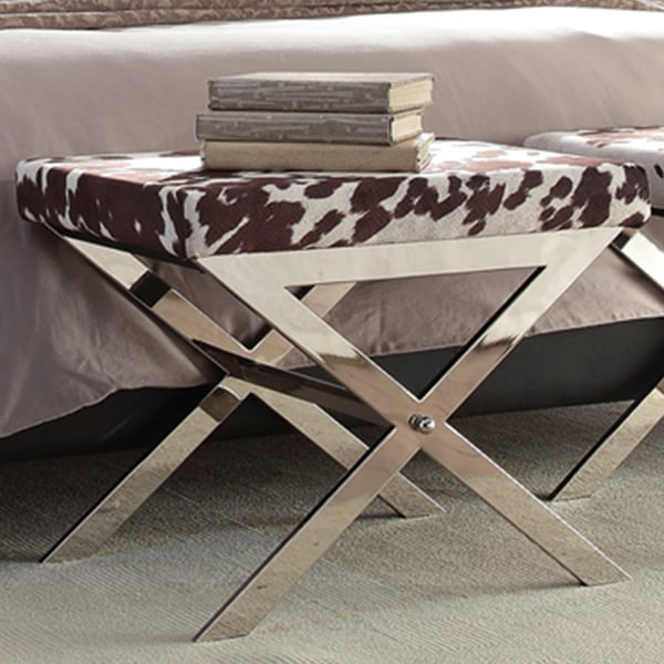 INSPIRE Q Southport Cowhide Print 22-inch Metal Bench