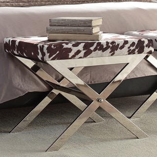Southport Faux Cowhide Print 22-inch Metal Bench by iNSPIRE Q Bold