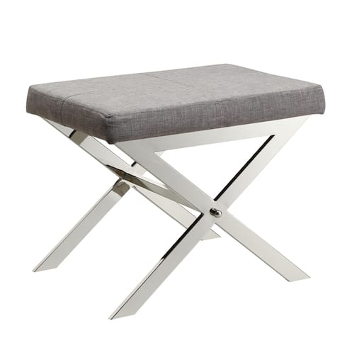 Southport Linen 22-inch Chrome Finish Metal Stool by iNSPIRE Q Bold