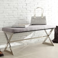 Southport Linen 40-inch Chrome Finish Metal Bench by iNSPIRE Q Bold