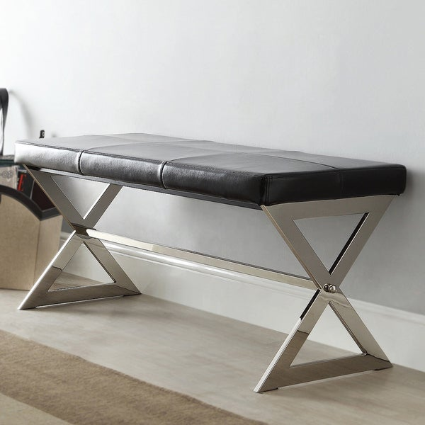 Southport Black Bonded Leather 40-inch Metal Bench by iNSPIRE Q Bold