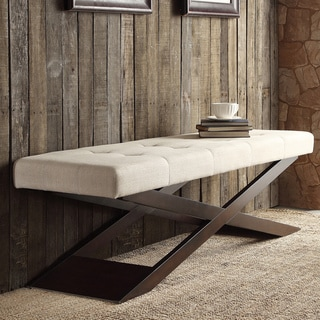 Bosworth Beige Linen Wood X Base Bench by INSPIRE Q