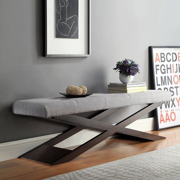 Bosworth Grey Linen Wood X Base Bench by iNSPIRE Q Classic