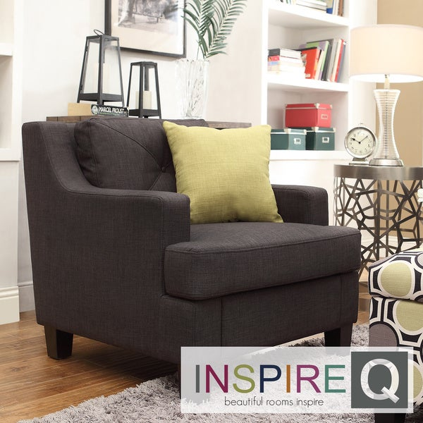 Inspire Q Middleton Charcoal Linen Tufted Sloped Arm Chair