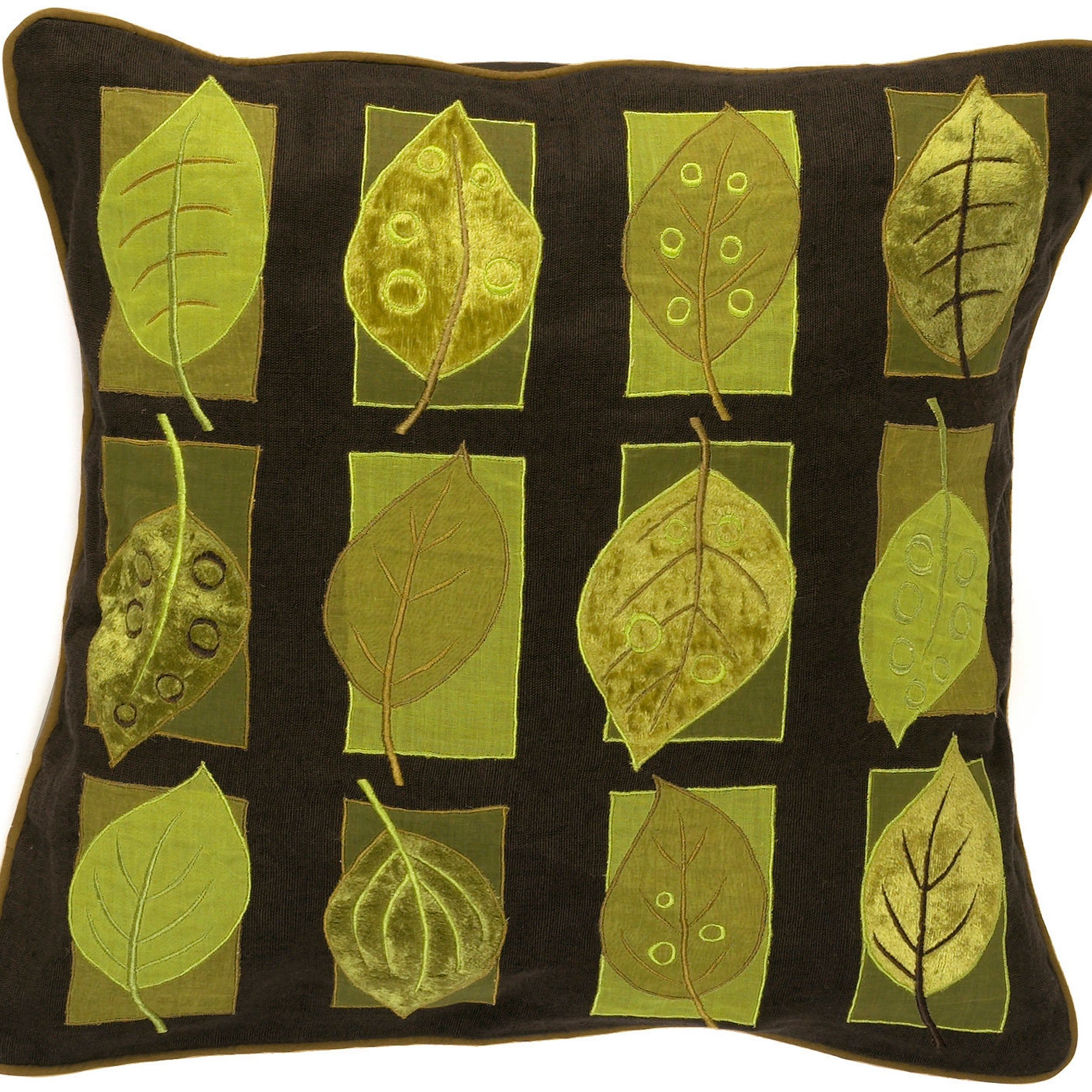 Surya Green Leaves 22-inch Decorative Throw Pillow (Down)