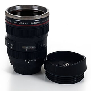 Camera Lens Stainless Steel Coffee Mug with Lid