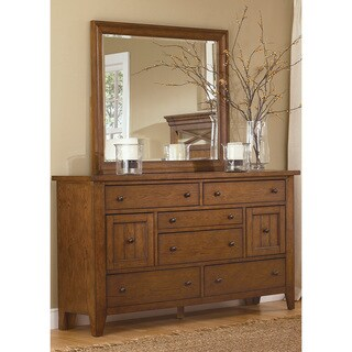 Heathstone Oak 8-drawer Dresser and Mirror Set
