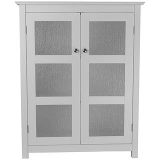 Highland White Double Glass Door Floor Cabinet by Elegant Home Fashions