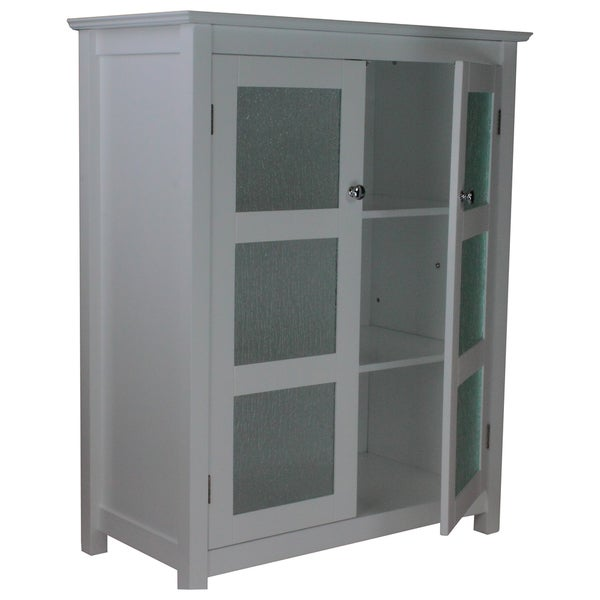 Perfect Highland White Double Glass Door Floor Cabinet By Essential Home  Furnishings   Free Shipping Today   Overstock.com   15502800