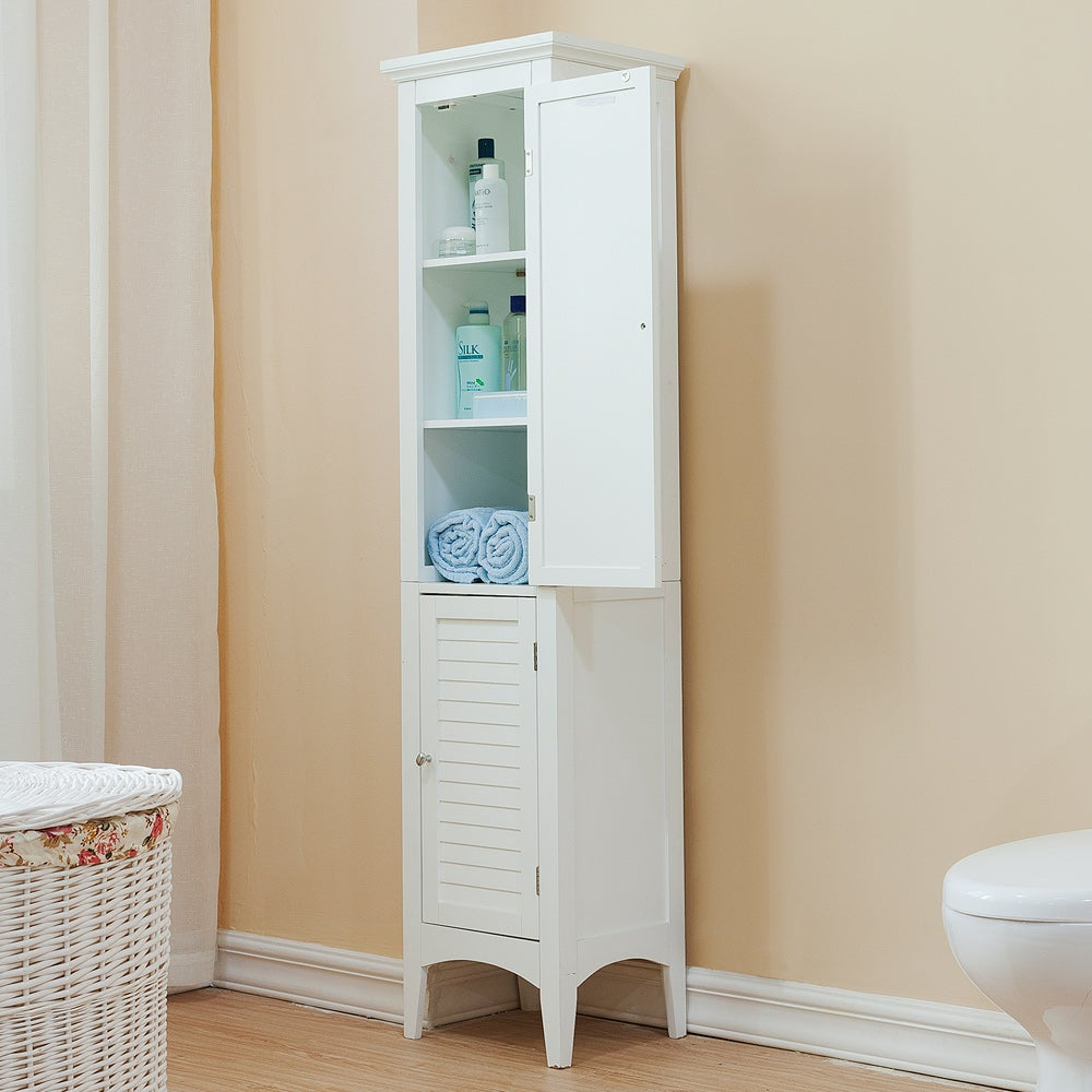 Bayfield White 2-door Linen Tower by Essential Home Furni...