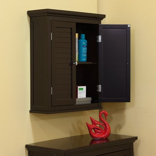 Bayfield Dark Espresso Double Shutter Door Wall Cabinet by Elegant Home Fashions