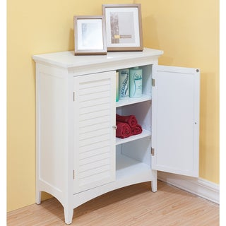 Bayfield White Double-door Floor Cabinet by Elegant Home Fashions : white bathroom storage cabinets - Cheerinfomania.Com