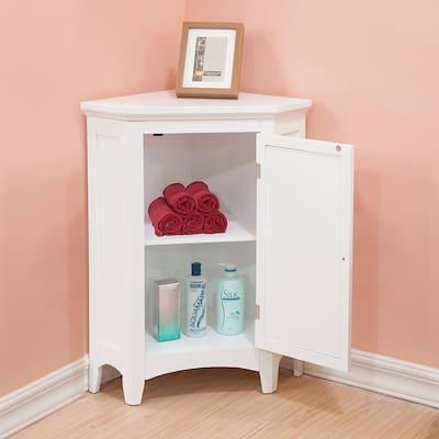 Bayfield White Shutter Door Corner Floor Cabinet by Elegant Home Fashions