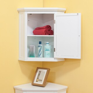 Bayfield White Shutter Door Corner Wall Cabinet by Elegant Home Fashions