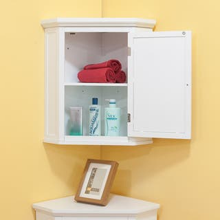 White Corner Bathroom Cabinet. Essential Home Furnishings Bayfield White Wood Shutter Door Corner Wall Cabinet