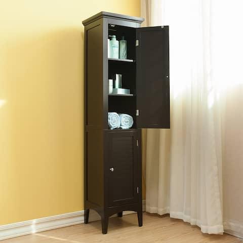 Bayfield Dark Espresso 2-door Linen Tower by Elegant Home Fashions