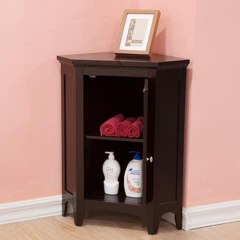 Bayfield Espresso Shutter Door Corner Floor Cabinet by Elegant Home Fashions