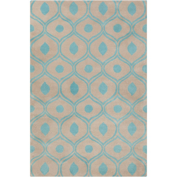 Allie Hand-tufted Abstract Grey-Blue Wool Rug - 5' x 7'6