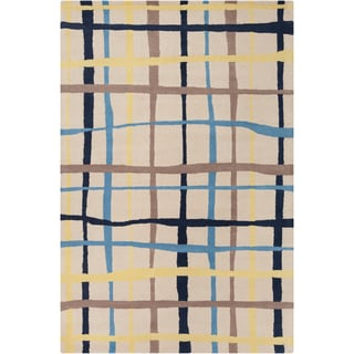 Allie Hand-tufted Geometric White Wool Rug (5' x 7'6)