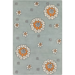 Allie Hand-tufted Floral Grey Wool Rug (5' x 7'6)