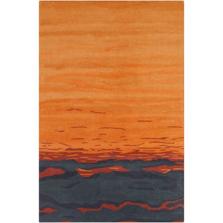 Allie Hand-tufted Abstract Orange/ Grey Wool Rug (5' x 7'6)