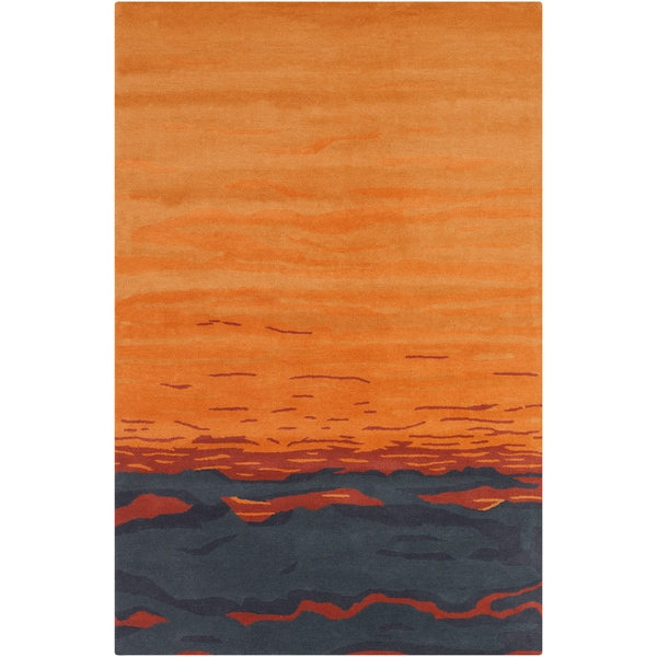 Shop Allie Hand Tufted Abstract Orange Grey Wool Rug 5