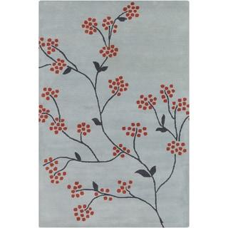 Allie Hand-tufted Floral Blue/ Grey Wool Rug (5' x 7'6)
