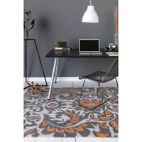 Allie Hand-tufted Abstract Grey/ Orange Wool Rug (5' x 7'6)