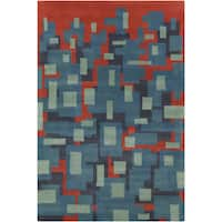 Allie Hand-tufted Geometric Blue/ Grey Wool Rug - 5' x 7'6