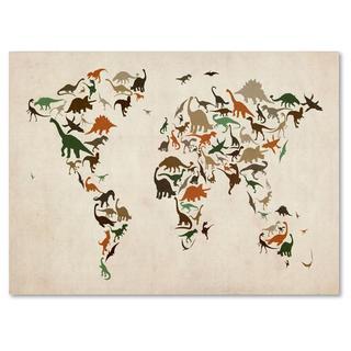Michael Tompsett 'Dinosaur World Map 2' Canvas Art (4 options available)