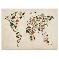 Michael Tompsett 'Dinosaur World Map 2' Canvas Art