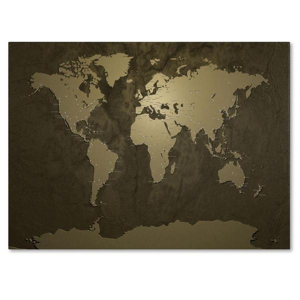 Shop michael tompsett gold world map canvas art free shipping michael tompsett x27gold world gumiabroncs Gallery