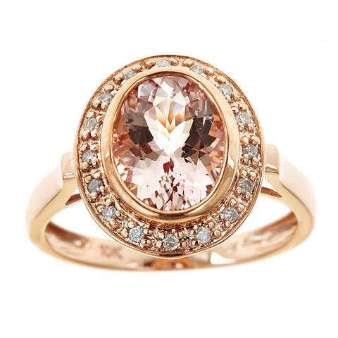 Anika and August 10k Rose Gold Morganite/ 1/10ct TDW Diamond Ring (G-H, I1-I2)
