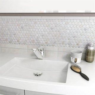 SomerTile 11.25x11.625-inch Seashell Penny White Mosaic Wall Tile (10/Case, 9.1 sqft.)