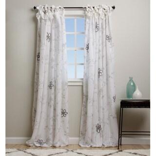 White Flower Linen Applique 84-inch Curtain Panel