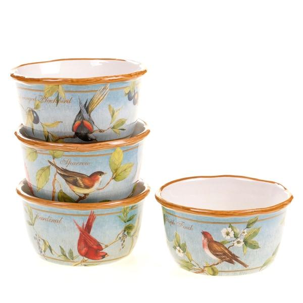 Certified International Botanical Birds Ice Cream Bowls (Set of 4)