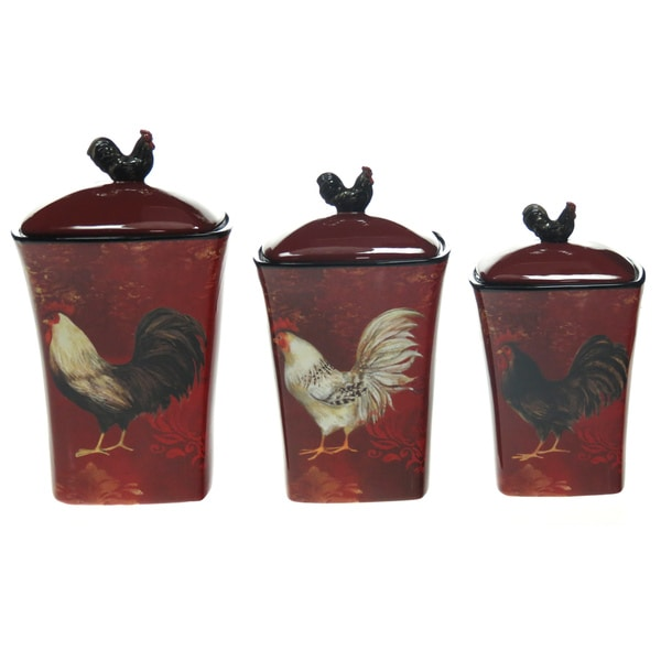 certified international avignon rooster 3 piece canister ceramic rooster canister set ivory