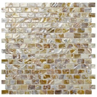SomerTile 11.75 x 11.75-inch Seashell Subway Natural Mosaic Wall Tile (Pack of 10)