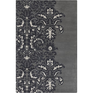 Allie Hand-tufted Abstract Grey/ White Wool Rug (5' x 7'6)