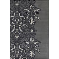 Allie Hand-tufted Abstract Grey/ White Wool Rug (5' x 7'6) - 5' x 7'6