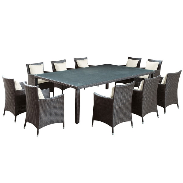 Bella vista outdoor wicker 11 piece dining table set for 11 piece dining table