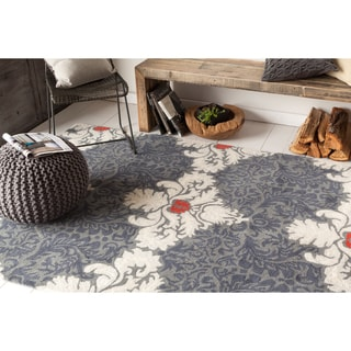 Hand-tufted Allie Grey/ White Abstract Wool Rug (5' x 7'6)
