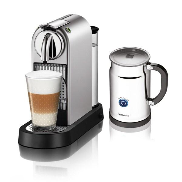 nespresso citiz silver espresso maker and milk frother refurbished free shipping today. Black Bedroom Furniture Sets. Home Design Ideas