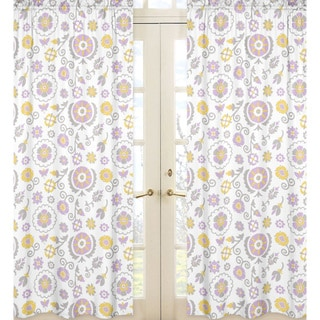 Sweet Jojo Designs Lavender, White, Gray and Yellow 84-inch Window Treatment Curtain Panel Pair for Suzanna Collection