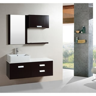 Kokols 51.5-inch Wall-mount Espresso Finished Floating Bathroom Vanity Set