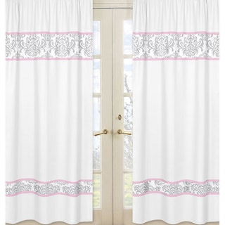 Sweet Jojo Designs Pink, Gray and White 84-inch Window Treatment Curtain Panel Pair for Pink and Gray Elizabeth Collection