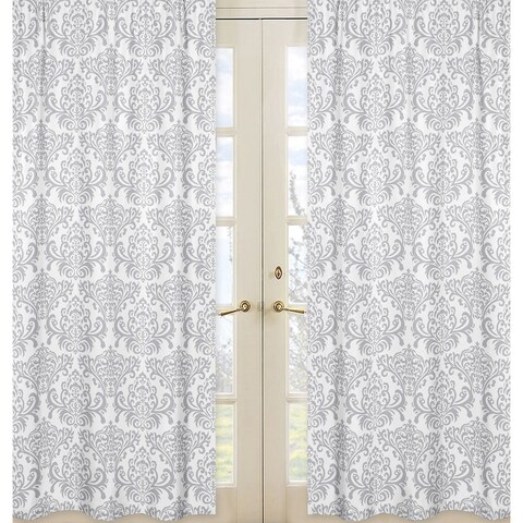 Sweet Jojo Designs Gray and White 84-inch Window Treatment Curtain Panel Pair for Pink and Gray Elizabeth Collection - 42 x 84